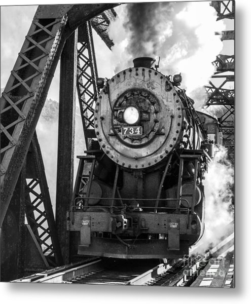 Steam Engine 734 Leaving The Narrows Metal Print