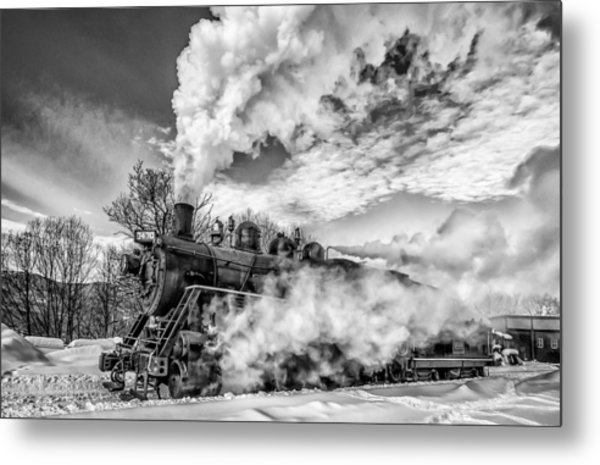 Steam In The Snow Black And White Version Metal Print
