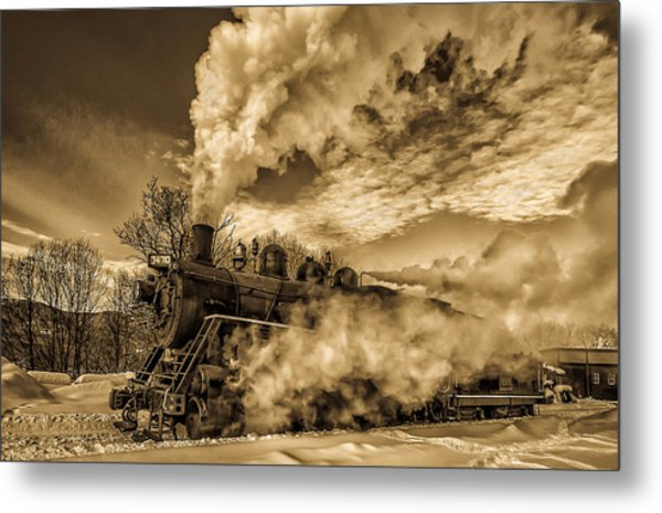 Steam In The Snow Metal Print