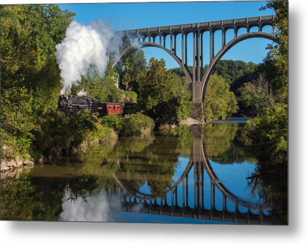 Steam In The Valley Metal Print