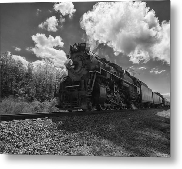 Steam Locomotive Passing Through Metal Print