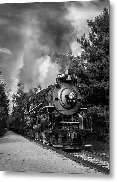 Steam On The Rails Metal Print