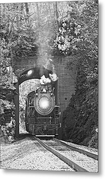 Steam Train Tunnel Metal Print