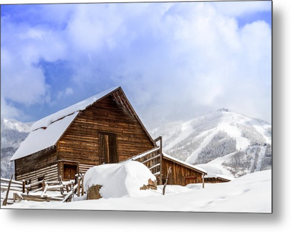 Steamboat Springs Barn And Ski Area Metal Print