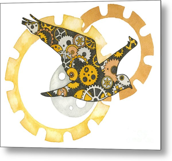 Steampunk Bird Metal Print by Nora Blansett