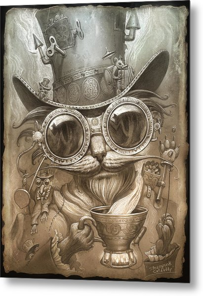 Steampunk Cat Metal Print