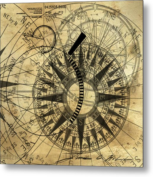 Steampunk Gold Compass Metal Print