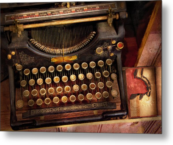Steampunk - Just An Ordinary Typewriter  Metal Print