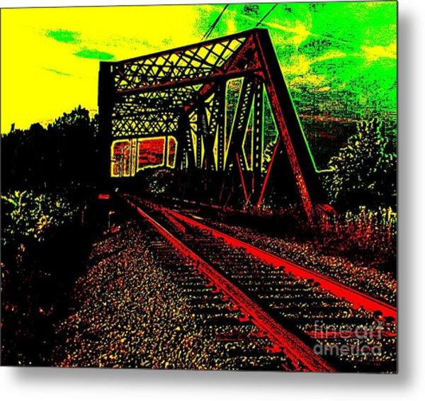 Steampunk Railroad Truss Bridge Metal Print
