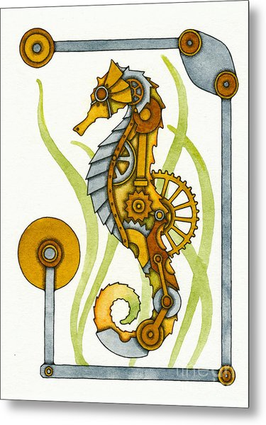 Steampunk Seahorse Metal Print by Nora Blansett