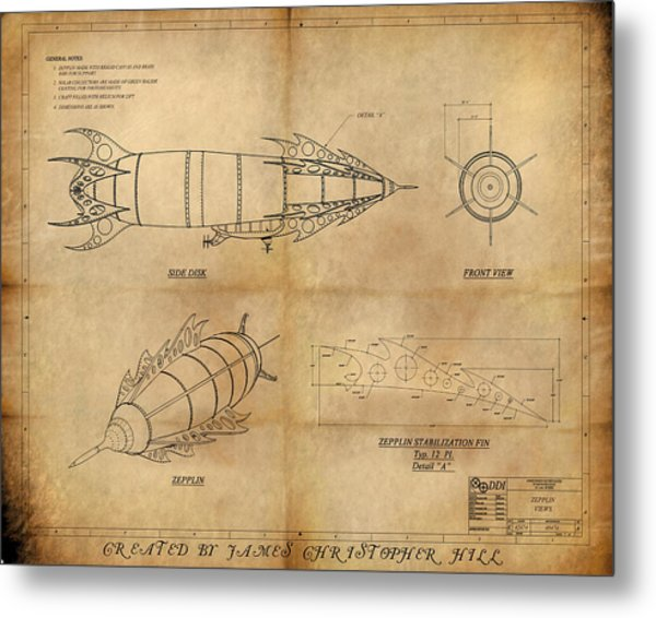 Steampunk Zepplin Metal Print