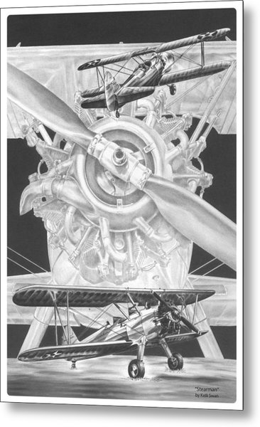 Stearman - Vintage Biplane Aviation Art Metal Print