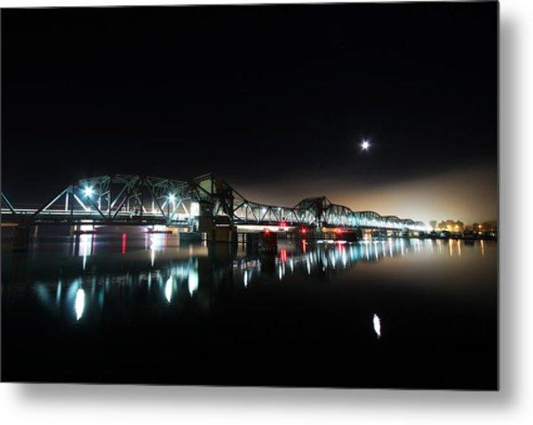Steel Bridge Moon Metal Print by Ty Helbach