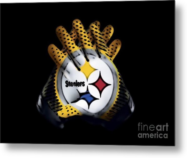 Steelers Gloves Metal Print
