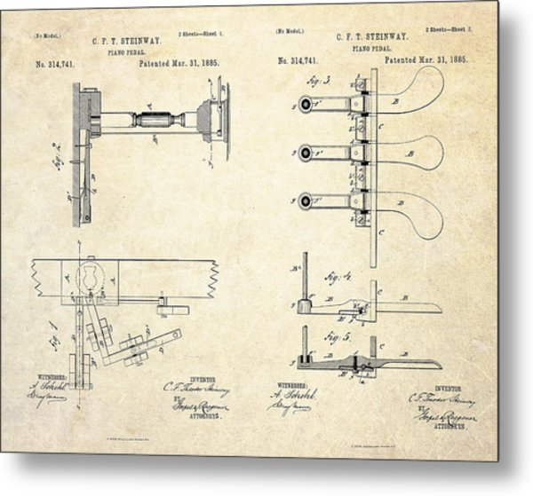 1885 Steinway Piano Pedal Patent Art Metal Print