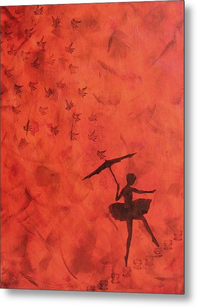 Stencil Ballerina Metal Print