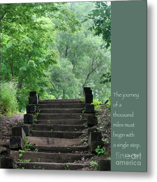 Steps And Lao Tzu Quote Metal Print