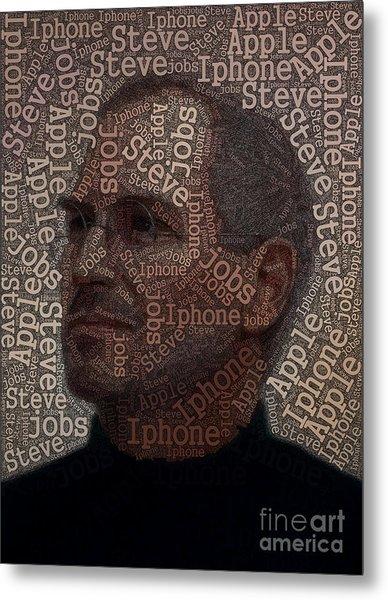 Steve Jobs Text Art Metal Print