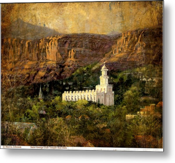St.george Temple Red Hills Antiique Metal Print
