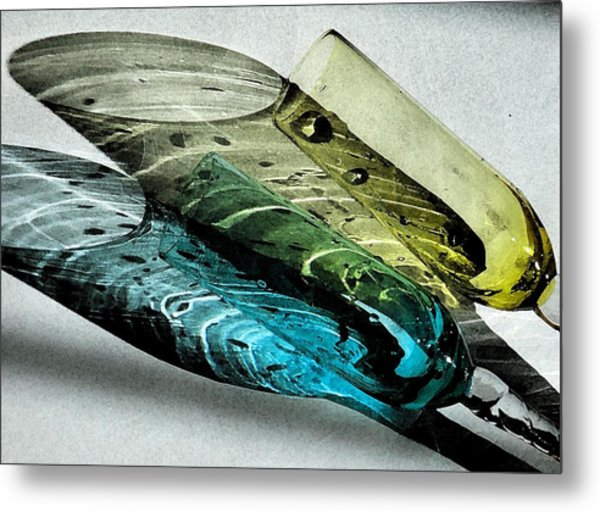 Still Life And Shadows In Blue And Gold Metal Print by Bruce Carpenter