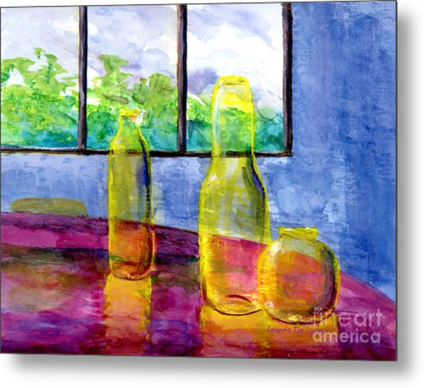 Still Life Art Bright Yellow Bottles And Blue Wall Metal Print