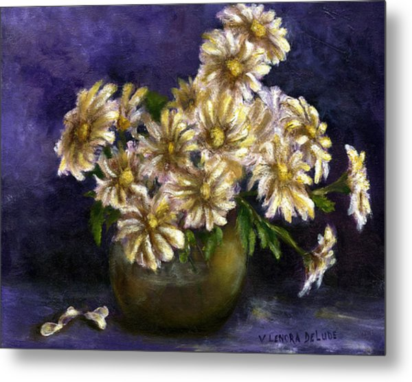 Still Life Art Diaisies In Purple  Metal Print