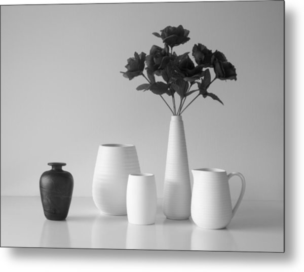Still Life In Black And White Metal Print by Jacqueline Hammer