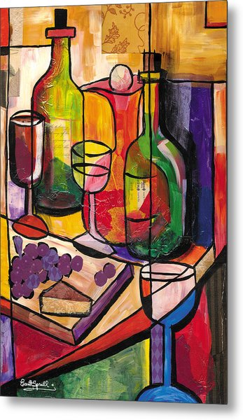 Still Life Of Fruit Wine And Cheese Metal Print