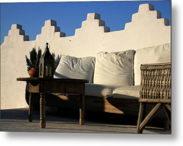 Still Life On A Roof Terrace Old Medina Tangier Morocco Metal Print by PIXELS  XPOSED Ralph A Ledergerber Photography