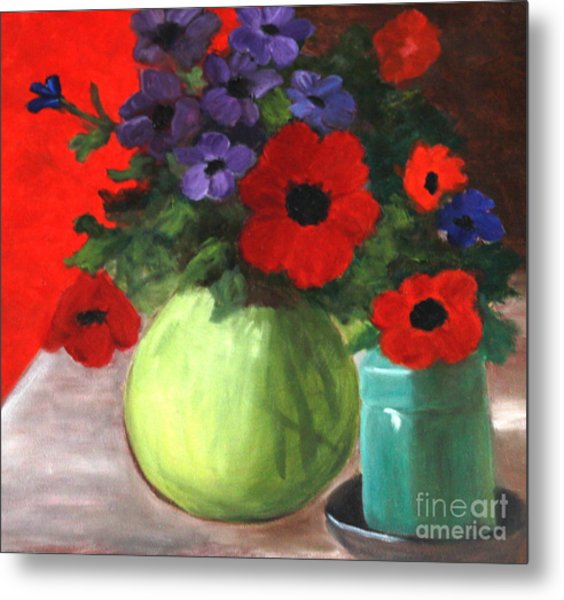Still Life Poppies And Purple Things Metal Print by Sherrill McCall