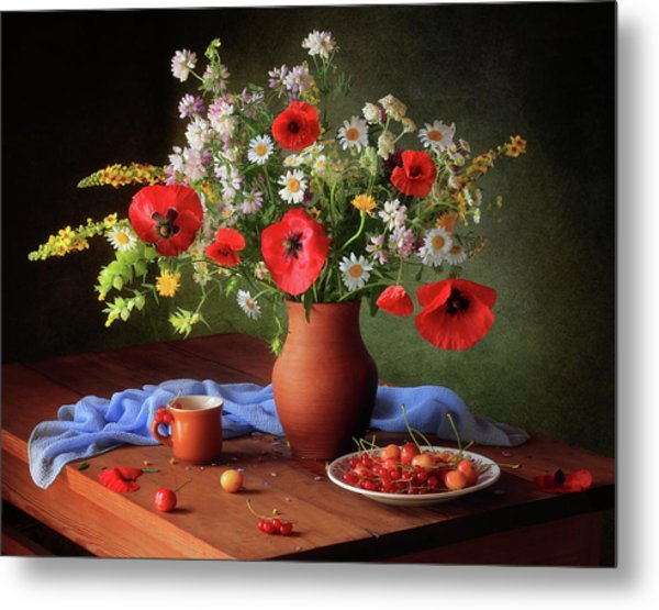 Still Life With A Bouquet Of Meadow Flowers Metal Print