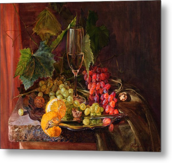 Still-life With A Glass Of Wine And Grapes Metal Print