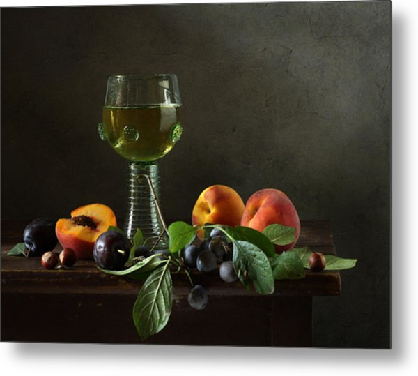 Still Life With A Roamer And Fruit Metal Print by Diana Amelina