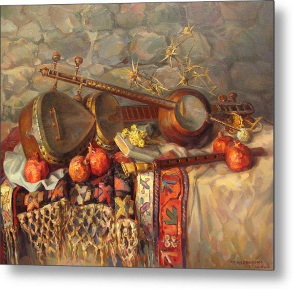 Still-life With Armenian Musical Instruments Duduk Thar And Qyamancha Metal Print by Meruzhan Khachatryan