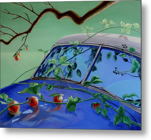 Metal Print featuring the painting Still Life With Car by Sally Banfill
