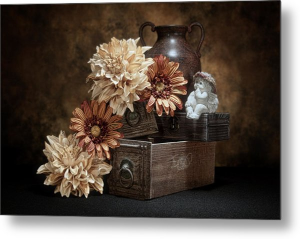 Still Life With Cherub Metal Print