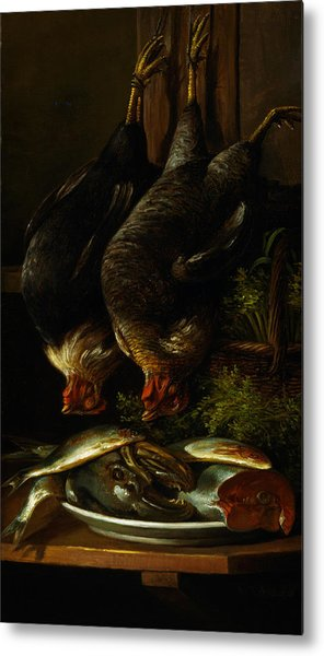 Still Life With Chickens And Fish Metal Print