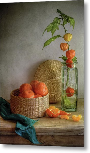 Still Life With Clementines Metal Print by Mandy Disher