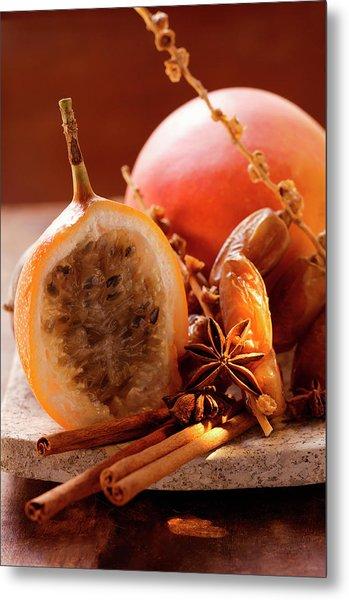 Still Life With Dates, Star Anise, Cinnamon, Granadilla And Mango Metal Print