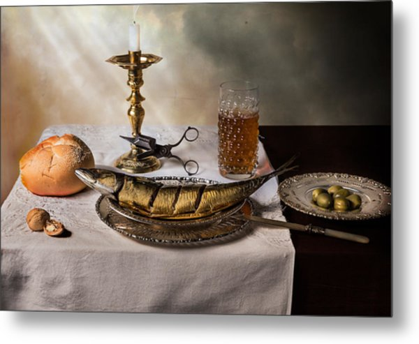 Still Life With Fish-bread-olives And Snuffed Candle Metal Print