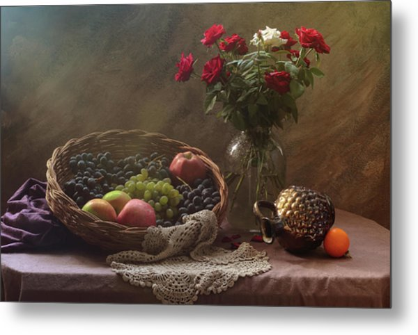 Still Life With Fruit And Roses Metal Print