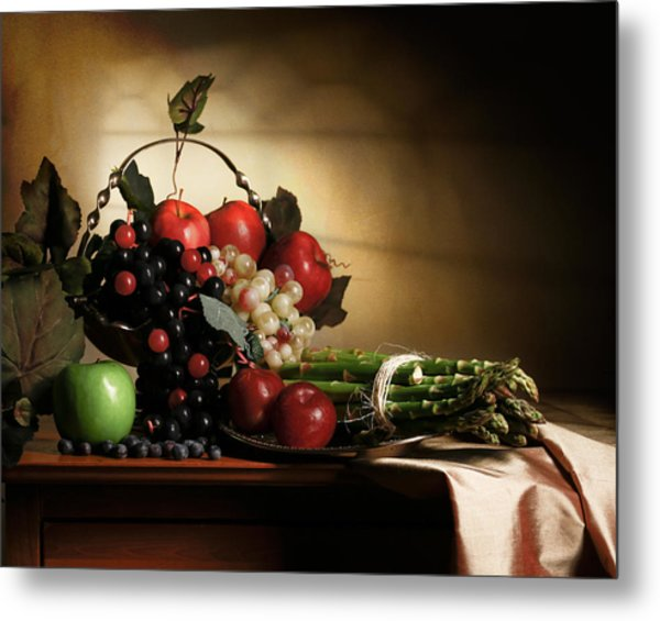 Still Life With Grapes And Asparagus Metal Print
