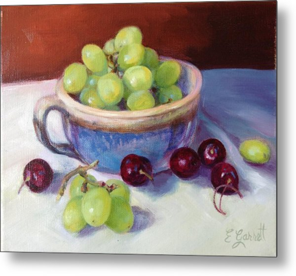 Still Life With Grapes And Cherries Metal Print