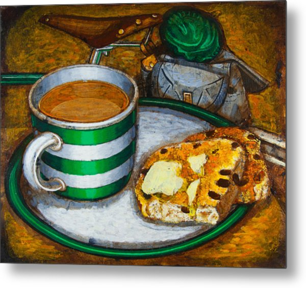 Still Life With Green Touring Bike Metal Print