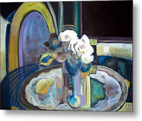 Still Life With Lemon And Two White Roses Metal Print by Therese AbouNader