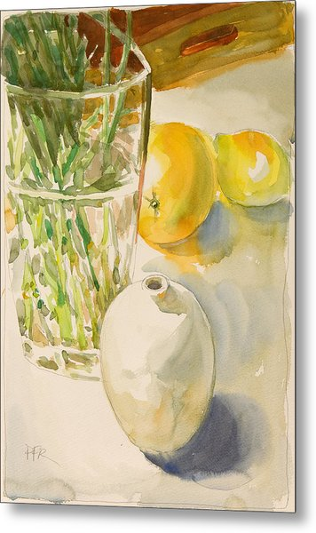 Still Life With Lemon And Vase Metal Print by Pablo Rivera