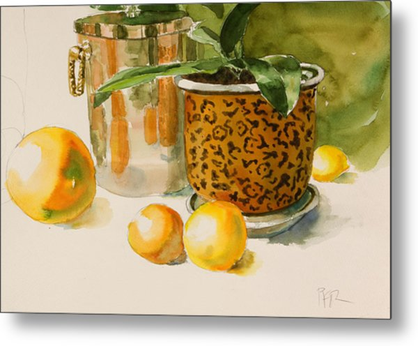 Still Life With Lemons And Potted Plant Metal Print by Pablo Rivera