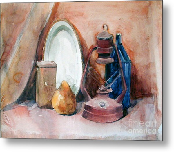 Watercolor Still Life With Rustic, Old Miners Lamp Metal Print
