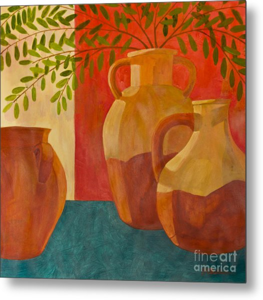 Still Life With Olive Branches I Metal Print