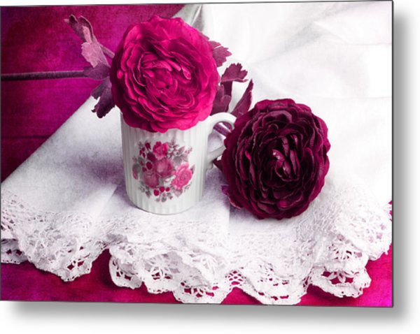 Still Life With Paper Flowers Metal Print by Angela Bruno